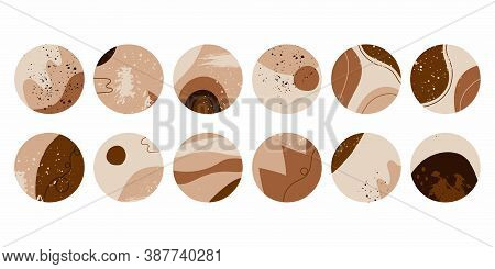 Highlights Covers Set. Modern Vector Layouts With Hand Drawn Organic Shapes, Textures. Abstract Back