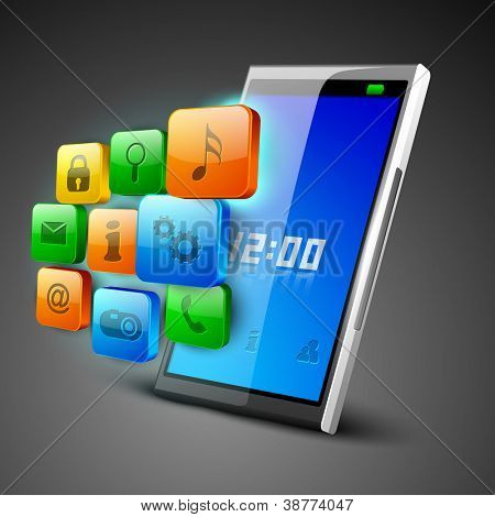 3D Business concept with web icons on tablet screen. EPS 10.