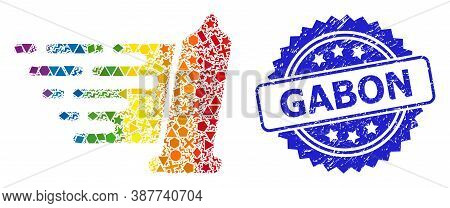 Spectrum Colored Vector Condom Collage For Lgbt, And Gabon Rubber Rosette Stamp Seal. Blue Stamp Sea