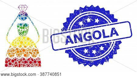 Rainbow Vibrant Vector Crowned Bride Mosaic For Lgbt, And Angola Dirty Rosette Seal Imitation. Blue