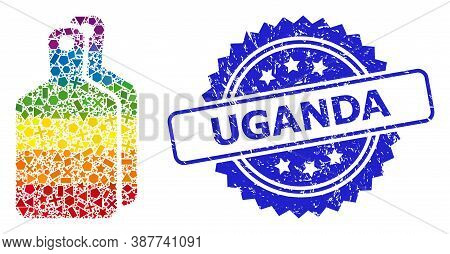 Bright Vibrant Vector Cutting Boards Collage For Lgbt, And Uganda Unclean Rosette Stamp Seal. Blue S