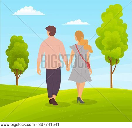 Couple Of Girl And Smiling Guy Walking In Park Or Countryside, People Walk At Nature Holding Hands,