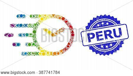 Bright Vibrant Vector Clock Mosaic For Lgbt, And Peru Dirty Rosette Stamp. Blue Stamp Contains Peru