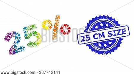 Bright Colorful Vector 25 Percents Mosaic For Lgbt, And 25 Cm Size Corroded Rosette Seal. Blue Seal