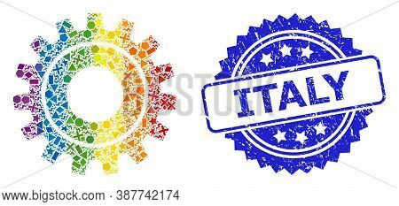 Bright Vibrant Vector Cog Collage For Lgbt, And Italy Corroded Rosette Stamp Seal. Blue Stamp Seal H