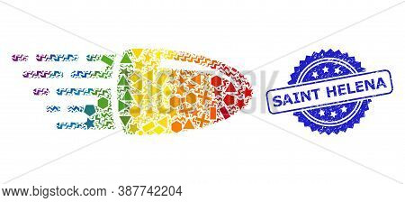 Rainbow Vibrant Vector Flying Bullet Mosaic For Lgbt, And Saint Helena Unclean Rosette Stamp Seal. B