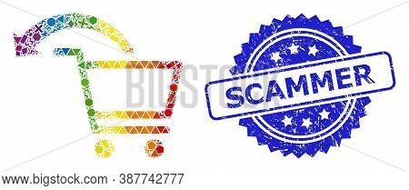 Rainbow Colorful Vector Cancel Shopping Order Mosaic For Lgbt, And Scammer Rubber Rosette Stamp Seal