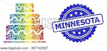 Rainbow Vibrant Vector Cake Collage For Lgbt, And Minnesota Rubber Rosette Stamp Seal. Blue Stamp Se