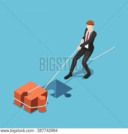 Flat 3d Isometric Businessman Pull Jigsaw Block Into Compatible Hole. Business Solution Concept.