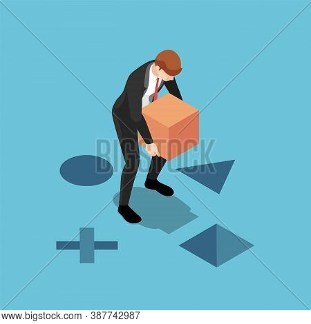 Flat 3d Isometric Businessman Putting The Square Box Into The Right Hole. Business Solution And Work