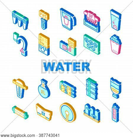 Water Treatment Filter Collection Icons Set Vector