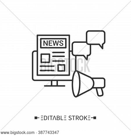Press Release Icon. Newspaper With Article, Social Media Messages And Megaphone.outline Drawing. Ann