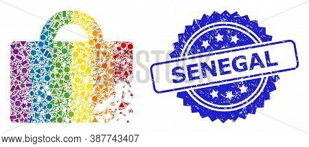 Bright Colored Vector Damaged Luggage Collage For Lgbt, And Senegal Dirty Rosette Stamp Seal. Blue S