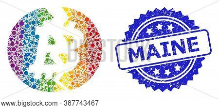Bright Colored Vector Broken Bitcoin Mosaic For Lgbt, And Maine Rubber Rosette Stamp Seal. Blue Stam