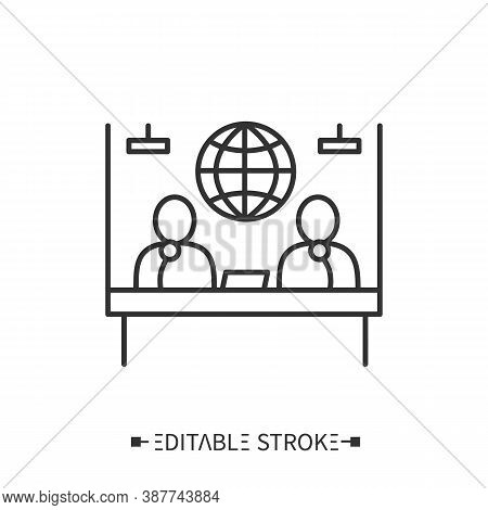 Press Conference Icon. Two Speakers Sitting With Microphones At The Table. Spokesperson. Distributio