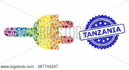 Rainbow Colorful Vector Electric Plug Collage For Lgbt, And Tanzania Dirty Rosette Stamp Seal. Blue