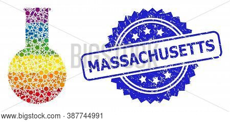 Spectrum Vibrant Vector Chemical Flask Collage For Lgbt, And Massachusetts Rubber Rosette Stamp. Blu