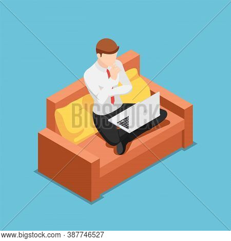 Flat 3d Isometric Businessman Thinking While Working On Laptop At Home. Work At Home And Freelance C