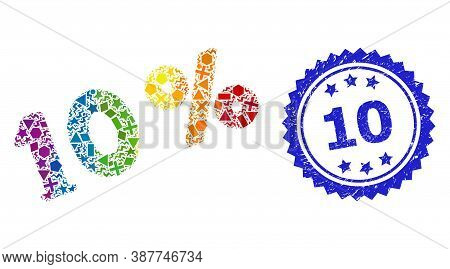Rainbow Colorful Vector 10 Percents Collage For Lgbt, And 10 Textured Rosette Stamp Seal. Blue Seal
