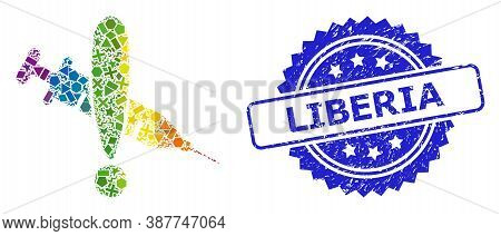 Spectrum Vibrant Vector Danger Vaccine Mosaic For Lgbt, And Liberia Corroded Rosette Stamp. Blue Sta