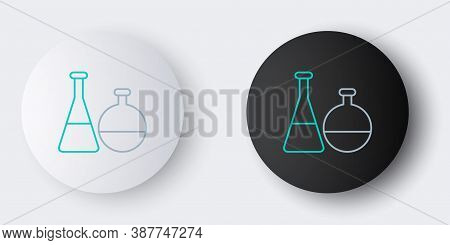 Line Test Tube And Flask Chemical Laboratory Test Icon Isolated On Grey Background. Laboratory Glass