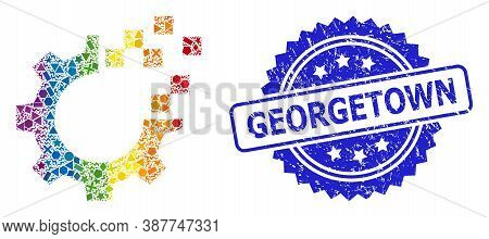 Rainbow Colorful Vector Auto Gear Repair Collage For Lgbt, And Georgetown Corroded Rosette Stamp Sea