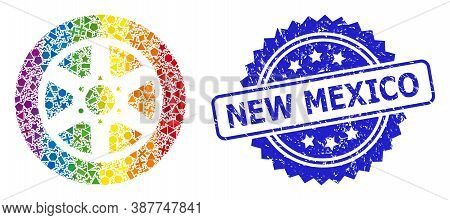 Spectrum Vibrant Vector Car Wheel Collage For Lgbt, And New Mexico Dirty Rosette Seal Imitation. Blu