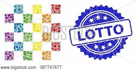 Bright Colored Vector Chess Board Collage For Lgbt, And Lotto Dirty Rosette Stamp Seal. Blue Stamp I
