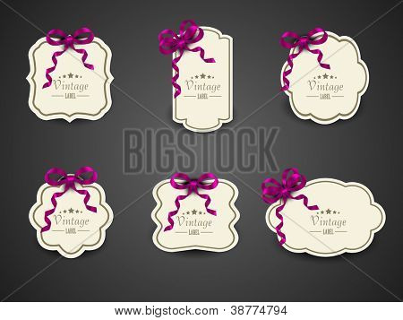 Vintage label, tag, stickers or gift card with ribbons. EPS 10.