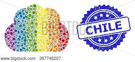 Rainbow Colorful Vector Cloud Mosaic For Lgbt, And Chile Textured Rosette Stamp Seal. Blue Seal Has