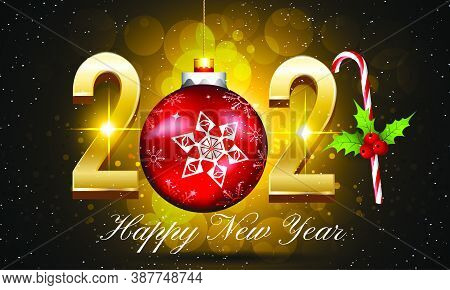 New Year 2021 Vector Background With Golden Text - 2021 Happy New Year Vector Illustration With Gold