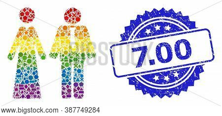 Rainbow Colored Vector Newlyweds Mosaic For Lgbt, And 7.00 Rubber Rosette Stamp. Blue Stamp Has 7.00