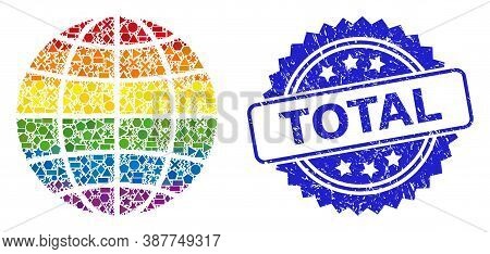 Bright Colorful Vector Globe Collage For Lgbt, And Total Corroded Rosette Stamp Seal. Blue Stamp Sea