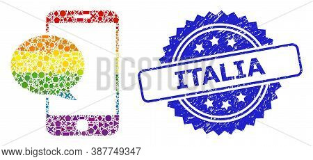 Spectrum Vibrant Vector Smartphone Message Mosaic For Lgbt, And Italia Unclean Rosette Stamp Seal. B