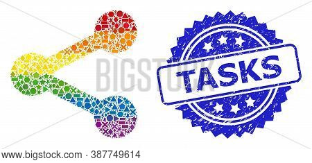 Rainbow Colorful Vector Share Collage For Lgbt, And Tasks Corroded Rosette Stamp. Blue Stamp Has Tas