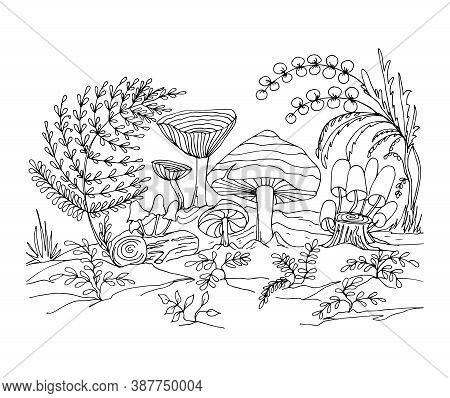Coloring Autumn Forest Glade With Different Mushrooms, Toadstools, Berries, Stumps, Firewood. Vector