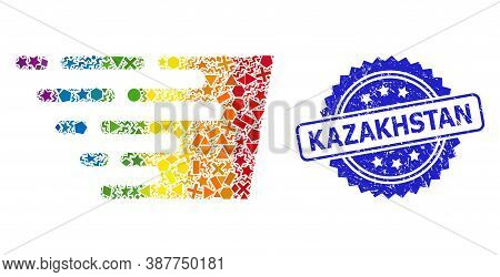 Bright Colored Vector Fast Effect Mosaic For Lgbt, And Kazakhstan Textured Rosette Stamp. Blue Stamp