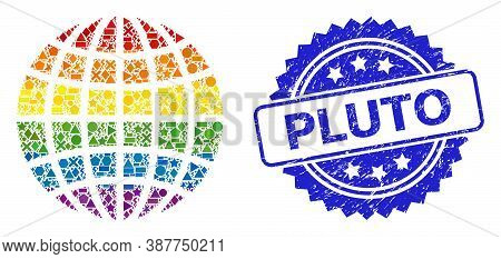 Rainbow Vibrant Vector Globe Collage For Lgbt, And Pluto Unclean Rosette Seal. Blue Seal Contains Pl