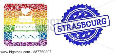 Rainbow Colored Vector Marriage Cake Collage For Lgbt, And Strasbourg Scratched Rosette Seal Imitati