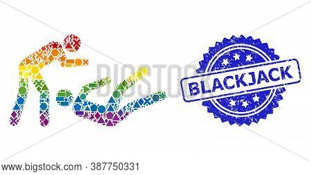 Rainbow Colored Vector Judo Struggle Mosaic For Lgbt, And Blackjack Grunge Rosette Seal Print. Blue