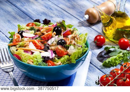 Fresh And Healthy Salad - Balanced Diet Food. Canned Tuna, Tomatoes, Cucumbers, Romaine Salad, Red O