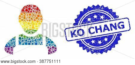 Rainbow Colorful Vector Worker Mosaic For Lgbt, And Ko Chang Scratched Rosette Seal Print. Blue Stam