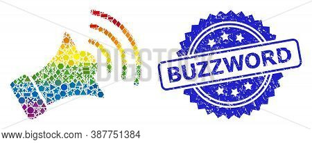Spectrum Colored Vector Megaphone Mosaic For Lgbt, And Buzzword Grunge Rosette Stamp. Blue Stamp Has