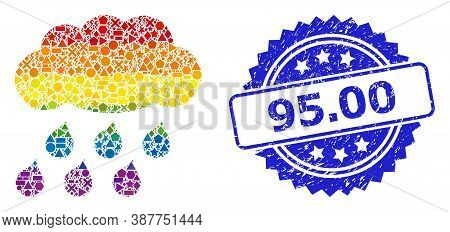 Rainbow Colorful Vector Rain Cloud Mosaic For Lgbt, And 95.00 Corroded Rosette Stamp Seal. Blue Seal