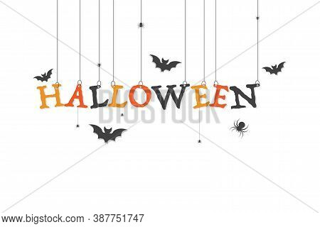 Halloween Poster With Spiders And Bat. Halloween Holiday Banner On White Background. Trick Or Treat