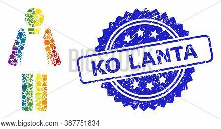 Rainbow Vibrant Vector Worker Person Collage For Lgbt, And Ko Lanta Dirty Rosette Seal. Blue Seal In