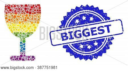 Spectrum Colorful Vector Wine Cup Mosaic For Lgbt, And Biggest Rubber Rosette Seal. Blue Stamp Seal