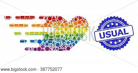 Rainbow Colored Vector Rush Lovely Heart Collage For Lgbt, And Usual Dirty Rosette Stamp Seal. Blue