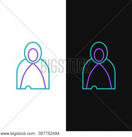 Line Mantle, Cloak, Cape Icon Isolated On White And Black Background. Magic Cloak Of Mage, Wizard An
