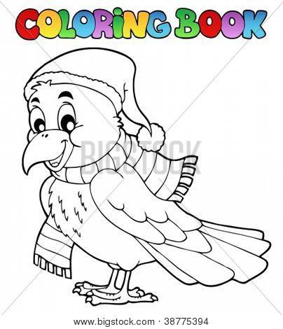 Coloring book cartoon raven - vector illustration.